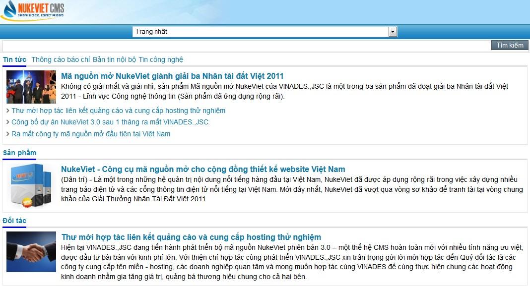 Xem chế độ mobile trên máy tính bảng - giao diện web do NukeViet 3.4 trình bày.