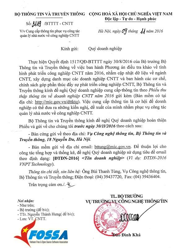Bộ TT&TT - Phiếu khảo sát doanh nghiệp CNTT