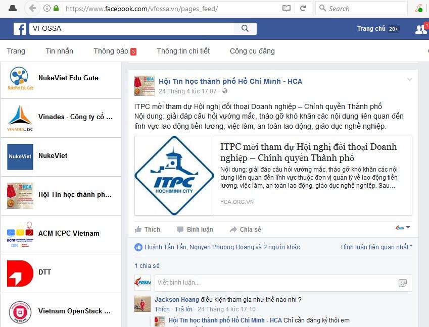 VFOSSA thiết lập kênh tin cộng đồng thành viên VFOSSA trên Facebook