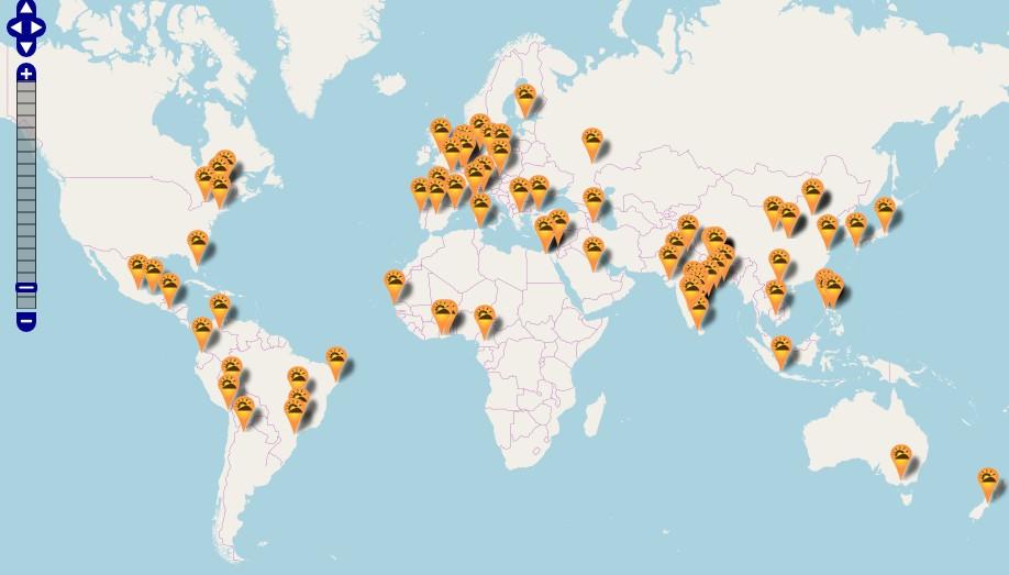 Sự kiện SFD năm nay diễn ra đồng thời tại 83 địa điểm ở khắp các châu lục trên toàn thế giới. Nguồn: softwarefreedomday.org